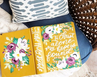 Hand Painted Journaling Bible, custom bible, scripture gift, bible journaling, gift for Christian, gift for wife, Mother's Day, gift for mom