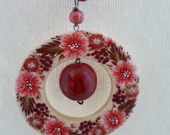 Wooden handmade necklace handpainted Petrikivka authentic painting