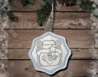 Felt Snowman Ornament in Sky Blue