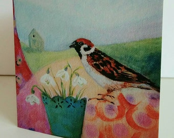 Greeting card Snowdrops and Sparrows from original painting by Bee Skelton for any occasion birthday gift anniversary thank you