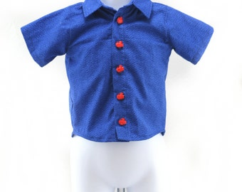Blue raindrop shirt woth red train buttons 100% cotton size 6 - 12 months
