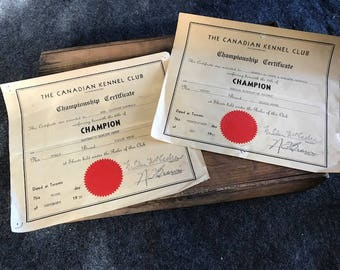 Vintage 1950s Canadian Kennel Club Champion Collie certificates