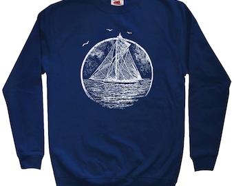 Vintage Sailboat Sweatshirt - Men S M L XL 2x 3x - Crewneck - Sailboat Gift, Sailing Sweatshirt, Boat Sweatshirt, Sails Sweatshirt, Sailor