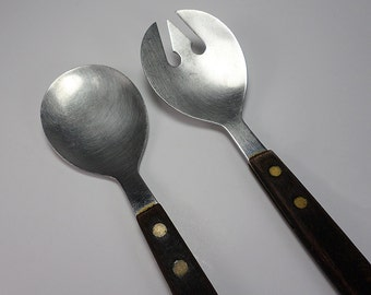 Vintage Stainless Steel and Wood Salad Fork and Spoon Set, Long Handles