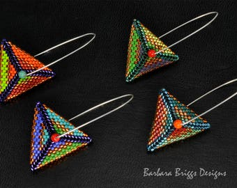 "Geometric ""Color Play"" Triangle Drop Earrings Beading Kits"