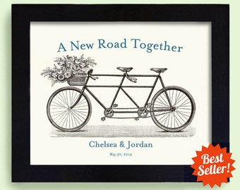 Lesbian Wedding Gift Unique Gay Wedding Engagement Gift 11x14 Decor Gift for Couples Bicycle for Two
