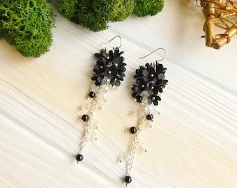 Black flower earrings Long earrings Black jewelry Dark earrings Flower jewelry Gift for her Crystal earrings Nature jewelry Sister gift