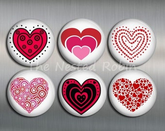 HEART MAGNETS with gift pouch - Set of 6 - 1 inch