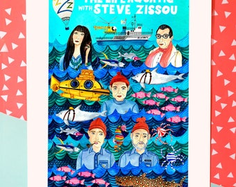 The Life Aquatic art print/Wes Anderson poster/Steve Zissou poster/Bill Murray art/movie geek art print/fun gift for boyfriends/gift for her