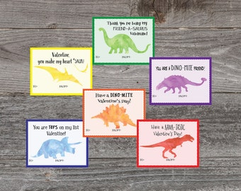 Kids Valentine cards. Fun Dinosaur Valentine Cards. Printable Valentine. 6 Children's DIY Children' School Valentine's Day cards for school.