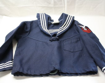 RESERVED 1950s Toddler Sailor Suit /  Vintage Sailor Outfit / Photo Op / Salior Birthday Outfit / Girls Boys Sailor Suit  2/3/4T