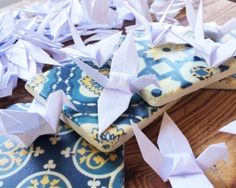 Origami Paper Crane 500 White - Origami Birds - Folded Paper Birds - Wedding Decoration Ornament Decoration - Wedding Favours - Baby Shower