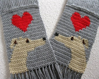 Gray knit scarf with greyhound dogs and red hearts. Scarf with dogs. Crochet whippet dog. Italian greyhound gift.