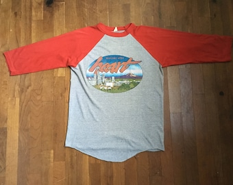 vintage 80s 1980 welcome home heart seattle coliseum sold out august 5 6 7 raglan grey red concert baseball t shirt