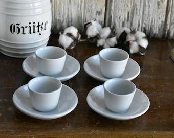 Set of 4 White Ironstone Small Handleless Mugs and Saucers ~ Child's Set ~ Tea Set ~ Ironstone Cup and Saucer Set ~ Salesman's Samples