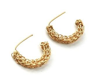 Mini  Gold hoop earrings in crochet - ethnic earrings , Boho earrings - Gypsy earrings - open hoops- Gypsy bohemian fashion