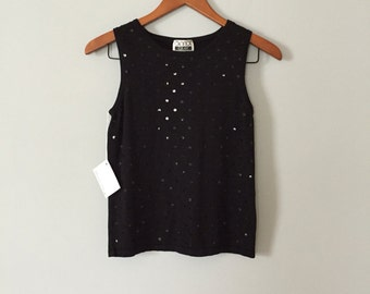 90s black silk knitted top | sequined crop top