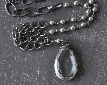Clear crystal pendant necklace, soldered pendant