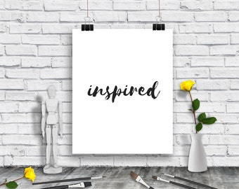 Inspired Poster - Art poster - word poster- digital art -  artist print - designer poster - instant download - wall art -
