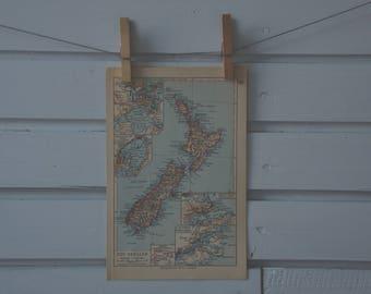1931 Vintage New Zealand Map