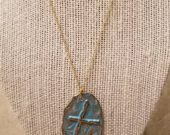 Patina Cross Necklace, Ladies Cross Pendant, Hand Crafted Patina Finish,  Hammered, Cross, Gold Plated Sterling Chain, Christian Gift Idea