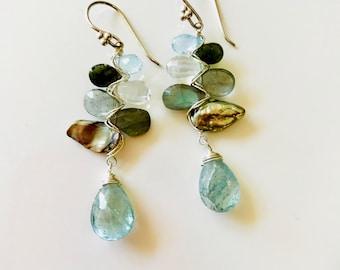 Moss Aquamarine, Labradorite, Prasiolite, Blue Topaz, Blue Tourmaline, Green Tourmaline and Freshwater Pearl Earrings--Aquamarine Earrings