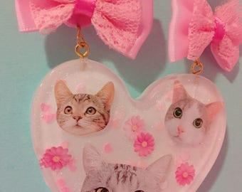 KITTIES Resin Heart Pink Bubblegum Beads Big Statement Necklace