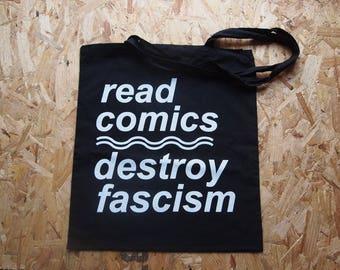Read Comics Destroy Fascism tote bag