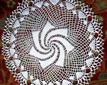 "Doily HAND CROCHETED Lace Dresser Runner Bureau Scarf Cotton Tablecloth White Swirl 23"""