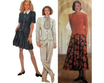 Women's Above Knee or Midi Skirt, Pants, Top and Tie Sewing Pattern Misses / Miss Petite Size 6, 8, 10, 12 Uncut Simplicity 8045