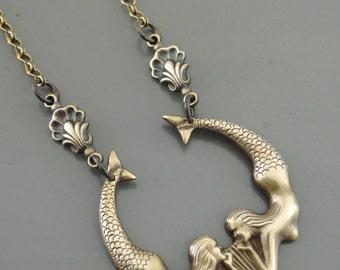Vintage Necklace - Mermaid Jewelry - Mermaid Necklace - Brass Necklace - Boho Necklace - Chloe's Vintage Jewelry - handmade jewelry