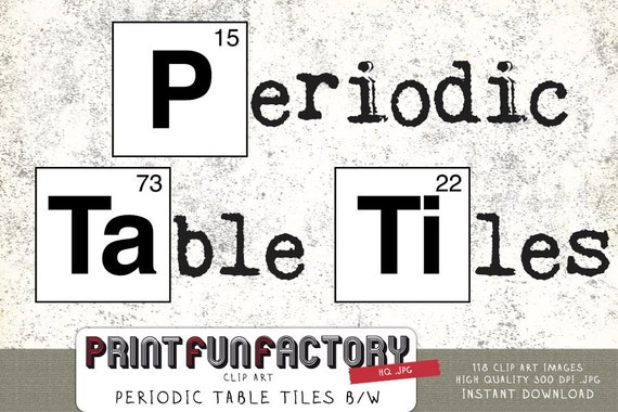 Periodic table tiles black white clip art instant download urtaz Image collections