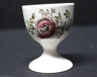 Vintage Johnson Bros Pink Rose Egg Cup, England, China, Margaret Rose Brown Multi, Small single egg cup, English China (C243)