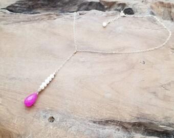 Magenta Jade Y Necklace, Pink Y Necklace, Pearl Y Necklace, Pearl Lariat Neckclace, Swarovski Crystal Y Necklace, Jade Lariat Necklace