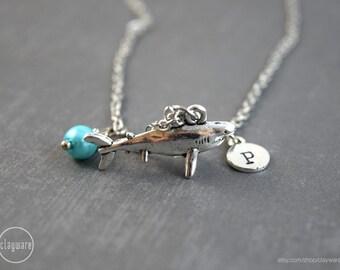 Shark Necklace, Shark Jewelry, Birthstone Jewelry, Birthstone Necklace, Shark Pendant, Birthstone Pendant, Ocean Necklace, Ocean Pendant