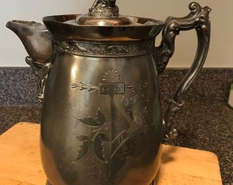 Vintage Silverplate Water Pitcher w/ Agate Insert