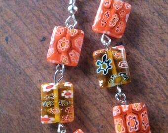 Funky Flower Glass Bead Earrings