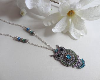 Blue Green silver metal OWL pendant long necklace beads and rhinestones/fantasy/necklace pendant/necklace hand/OWL