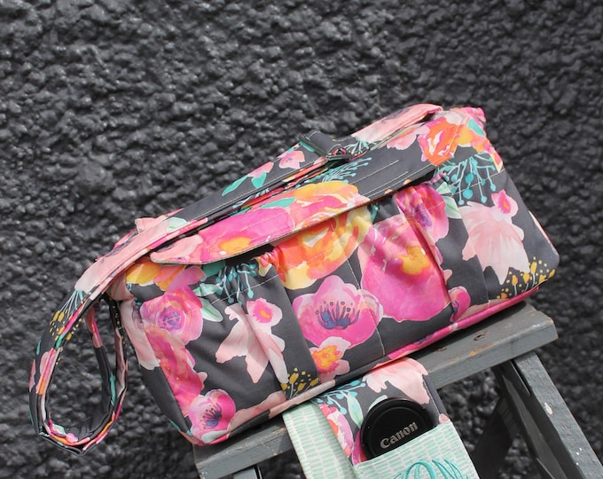Large Padded Digital Camera Bag + Camera Strap Cover Custom Made to Order by Watermelon Wishes 55mm 300mm lens DSLR