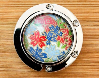 Metal Purse Hanger - Foldable Purse Hook - Yuzen/Chiyogami - Handmade - Red & Blue Blossoms