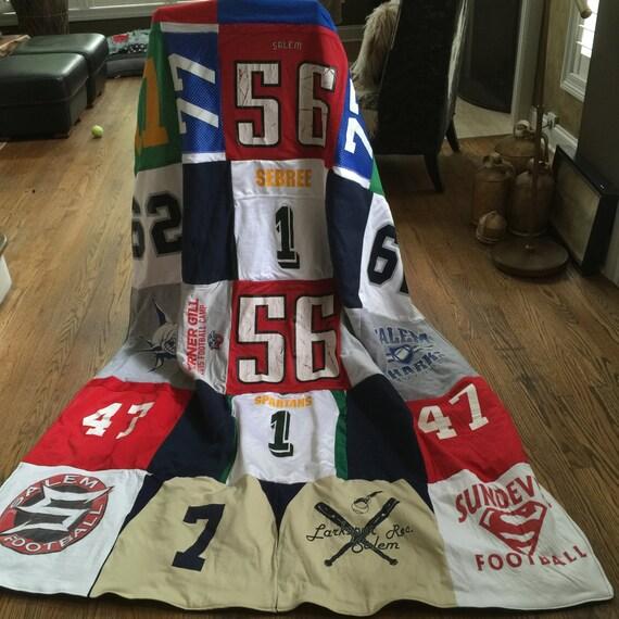 T-Shirt Blanket, Handmade, Custom, Ragged, T-Shirts, Sport Blanket, Memory Blanket, Quilt
