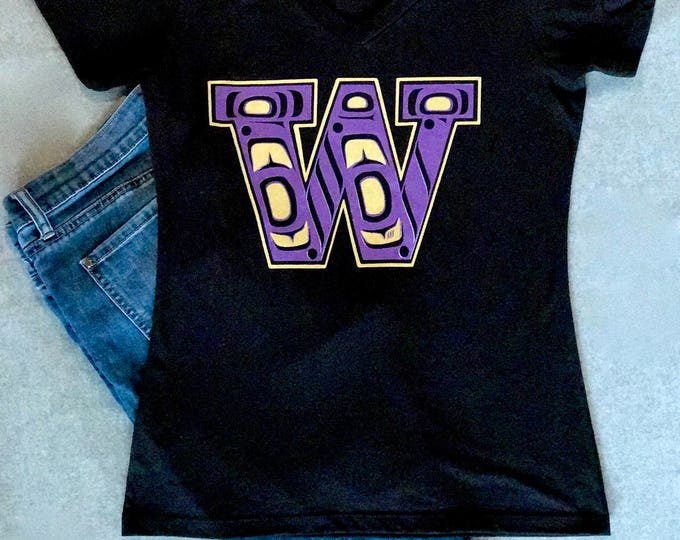 NW Coast Haida Purple and Gold W design on hoodies and tees