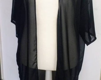 Plus size Long kimono,Sun cover up, Light jacket, duster Black, blue, pink,white etc print short sleeves, see through, sheer, sizes 10-28