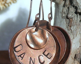 "All Copper, ""Dance"" Stamped Earrings with Copper Ear Wires E070,Jewelry"