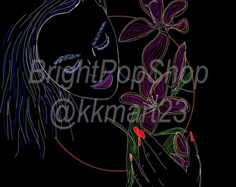 Neon Flowers Instant Download, Digital Art Print 10x14 & 15x21