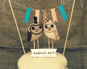 Barn Owls Wedding cake topper with neutral accents for your Rustic Wedding Made to Order