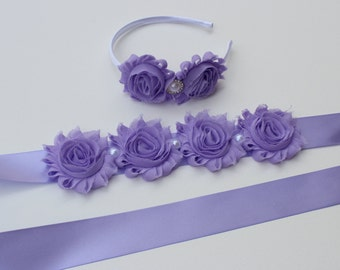 Lavender dress sash flower girl headband lavender plastic headband lavender wedding headband lavender dress sash matching girls headband