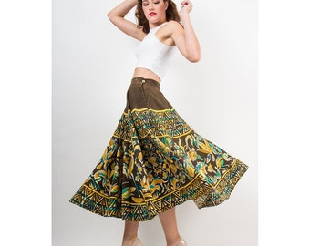 Vintage Mexican circle skirt / 1950s Hand painted silk / Fauna and Flora S