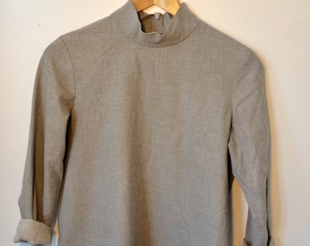 Mock Neck Grey Long Sleeve Cotton Shirt Zipper Closure