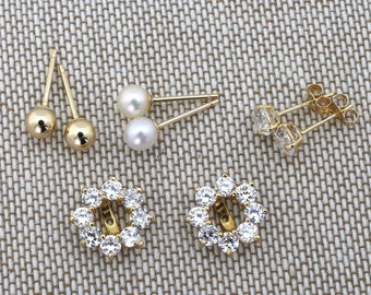 14k Yellow or White Gold Set of Three Interchangeable Stud Earrings with CZ Halo Earring Jackets - for women, for girls